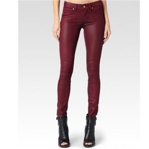 Paige Red Coated Ollie Shiraz Moto Skinny Jeans